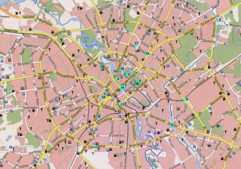 Все фонтаны Минска на карте