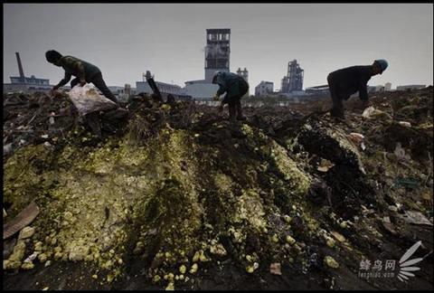 Химический отходы на берегу реки Янцзы.