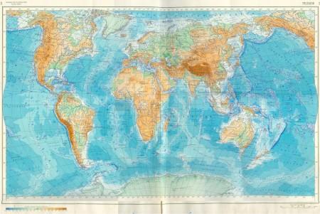Физическая карта мира. Рельеф.