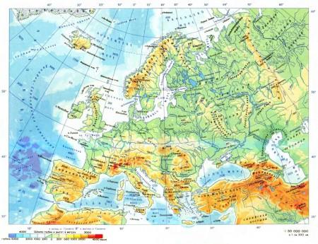 Физическая карта Европы.