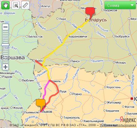 Карта маршрута путешествия Минск - Львов.