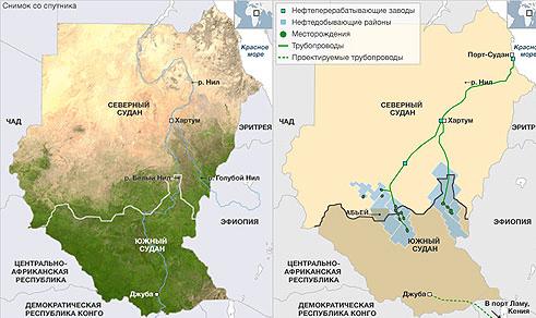 Карта нового Судана: Южного и Северного