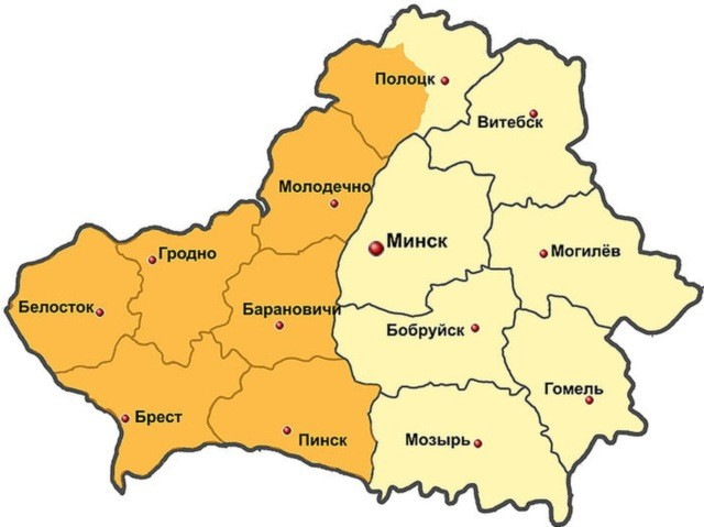 Карта БССР 1944 года