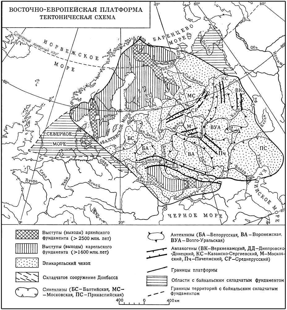 Восточно-Европейская платформа - тектоническая карта.