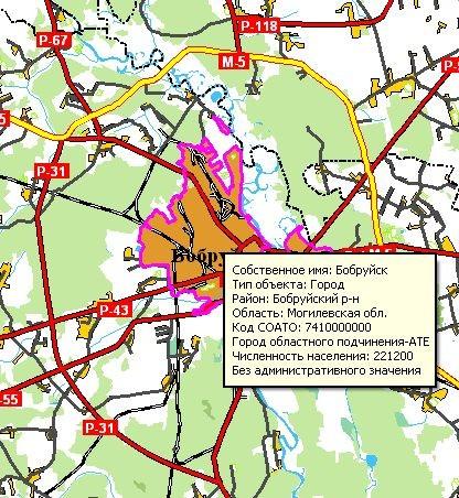 Карта Беларуси - доп. инфо