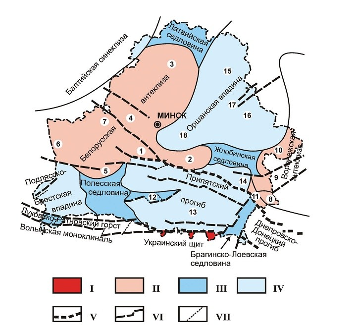 Карта тектонического районирования территории Беларуси (Гарецкий, Айзберг).