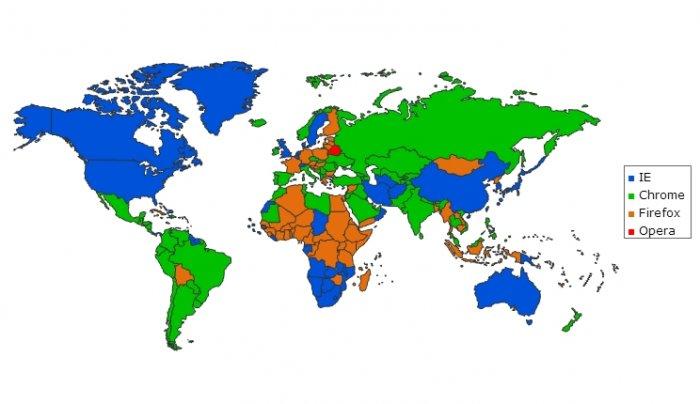 Карта мира: самые популярные браузеры