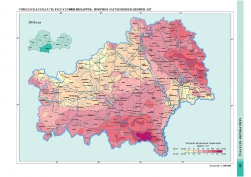 Карта радиационного загрязнения Гомельской области из атласа 2009 года